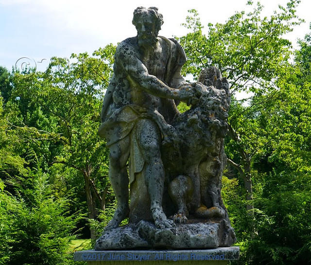 Old Westbury Gardens Sundial: Samson Wrestling A Lion At Old Westbury Gardens