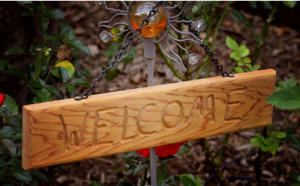 Hand Carved Welcome Sign