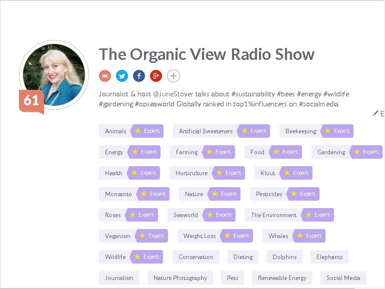 Klout ranking for The Organic View Radio Show 07252015