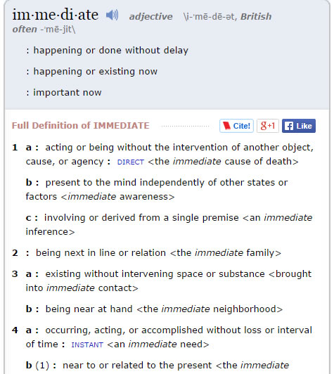 immediate definition