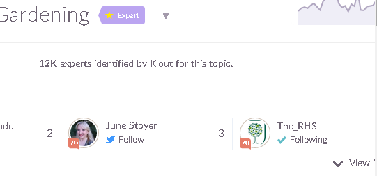June Stoyer is ranked number 2 in gardening on klout 05072015