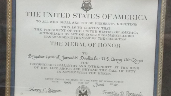 The Medal of Honor to Brigadier General James H. Doolittle, U.S. Army Air Corps at the Tennessee Museum of Aviation. Photo June Stoyer